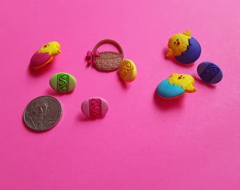 Easter Button Embellishment, Easter Basket Collection, 8 Piece Buttons