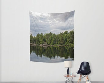 Woodland Tapestry Wall Hanging Nature Photography Wall Art, Minnesota Gifts For Men Outdoors, Boundary Waters Print, Vertical Tapestry