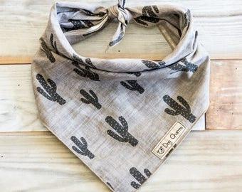 Gray Cactus Dog Bandana, Cactus Dog Bandana, Cactus Bandana, Tie On Bandana
