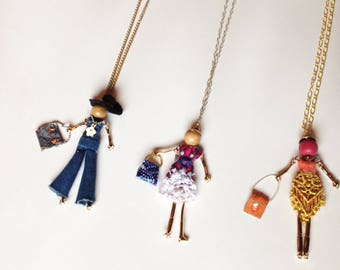 Doll Necklaces. Handmade in USA. OOAK