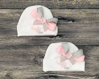 Personalize Baby Girl Hospital Hat, Infant Girl Beanie, Newborn Girl Hat, Monogram Layette Hat with Bow, Infant Bow Hat, Beanie with Bow