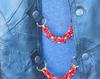 """Chain Mail Vest Extenders - 5/16"""" Red and Gold Aluminium - Set of 4"""
