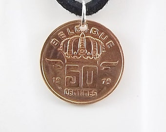 Belgium Coin Necklace, 50 Centimes, Coin Pendant, Leather Cord, Mens Necklace, Womens Necklace, Birth Year, 1979
