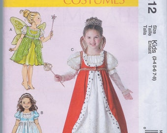 McCall's M7212 Girl's Halloween Fairy Princess Costume UNCUT size 3-8 Sewing Pattern