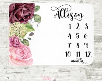 Floral Roses Baby Milestone Blanket, Vintage Roses Baby Milestone Girl, Monthly Baby Blanket, Baby Girl Blanket, Baby Milestone Photo Prop