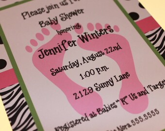 Zebra Print Baby Shower Invitations for Girl or Boy