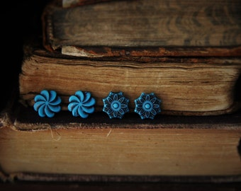 Teal Swirl or Teal Star Stud Earrings!