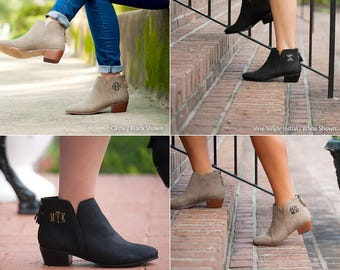 Hudson Short Boots in Black or Taupe - Personalized Monogram Ankle Boots for Fall