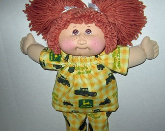 Cabbage Patch Kids, 15 16 inch Doll Clothes, John Deere Pajamas, Tractor, Fits Vintage Cabbage Patch Dolls