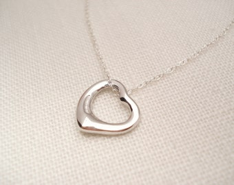 Sterling silver Open Heart Necklace...Floating heart Jewelry for simple everyday, layering, wedding, bridesmaid gift