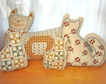 Farmhouse Decor. Needlepoint Cat Pillows. Stuffed Cat Collection (4). Vintage Handmade.Cat Couple Wedding.