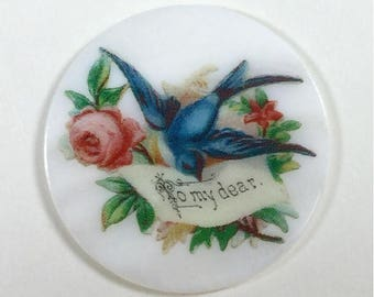 Mother of Pearl Button- Bird with a message
