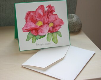 Original Watercolour painting rose flower pink Rosa rugosa 'scabrosa' card with handmade envelope