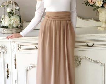 Bridesmaid Party Deep Open Back Long Dress Long Sleeves Pockets Sash White/ Cappuccino