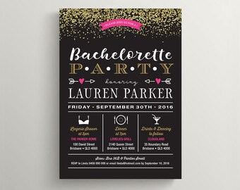 Printable Bachelorette Party, Lingerie Shower Invitation \ Gold glitter with Pink & Black (BR187)