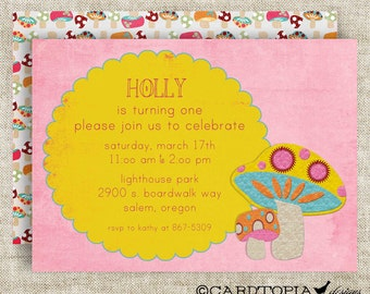 Retro MUSHROOM BIRTHDAY PARTY Invitation Digital Printable Cards Pink and Yellow - 81442275