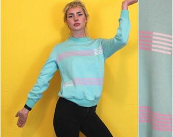 Vintage Adidas Crewneck Sweatshirt. Pastel Distressed 80s Womens Adidas Crew neck. Lightweight Seafoam Retro Adidas Striped Sweatshirt.