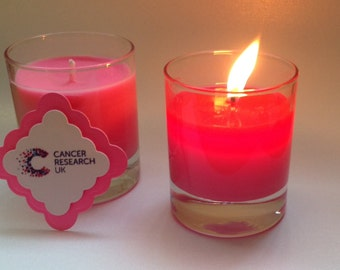 Soy candle in aid of Cancer Research UK. A lovely pink candle and for each one we sell, a donation will be made to Cancer Research UK.