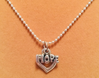 Silver Hope with Heart Charm Necklace
