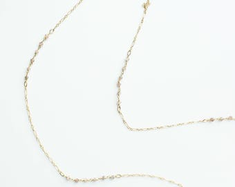 Chocolate Moonstone Beaded Gemstone Necklace, 14k Gold Filled or Sterling Silver Chain, Customize Length