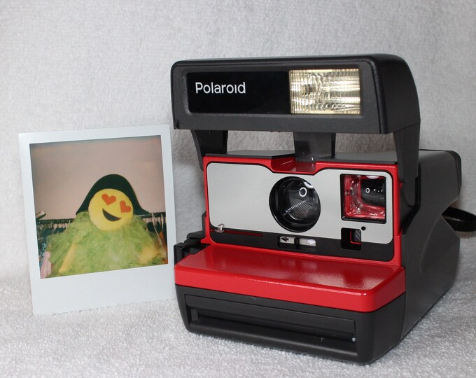 Red with Brushed Silver Front Polaroid 600 OneStep With Close Up And Flash Built-In