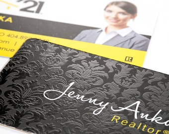 Luxury Real Estate Business Cards - Silk Laminate with Spot UV Gloss Coating