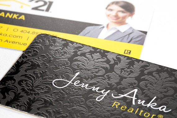 Luxury real estate business cards silk laminate with spot uv reheart Images
