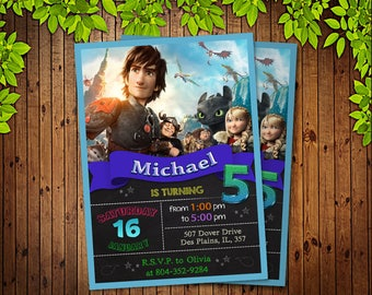 How To Train Your Dragon Birthday Invitation - Printable Invitation - How To Train Your Dragon Invitation