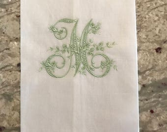 White Linen Hemstitch Guest Towel with Floral Vine Monogram