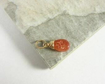 M - Orange Sunstone Jewelry - Sunstone Pendant - 14k Gold Charms - Natural Gemstone Jewelry - Wire Wrapped Stone Pendant - Healing Stones