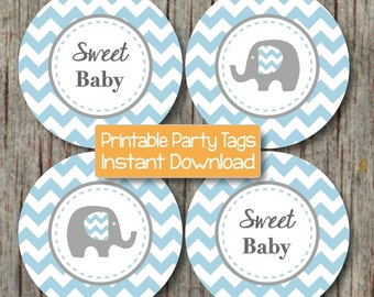 Chevron Elephant Cupcake Toppers Baby Shower Printable Tags Stickers Powder Blue Grey DIY Party Boy Digital pdf Instant Download - 124