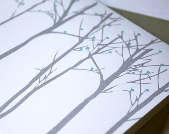 Silhouette Forest - Blue and Silver - Card set of 8