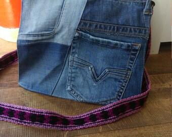 jeans shoulder bag with woven strap