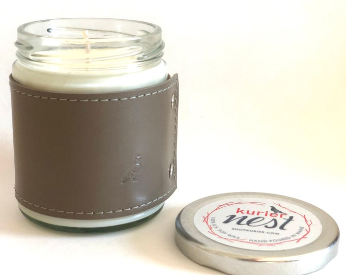 Leather wrapped, handpoured US soy wax candle - EASTERN FLORAL scent 9 oz. jar - Phthalate free