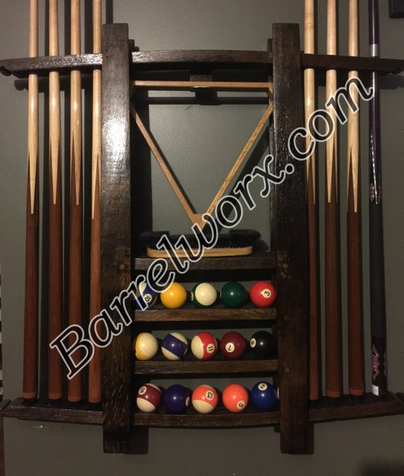 36 Whiskey Barrel Stave Pool Cue Stick Wall Mount Rack