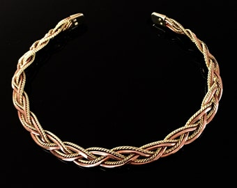 Magnetic necklace in copper and brass, twisted, braided, with all its benefits