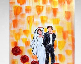 Unique Wedding Gifts for Couples, Wedding Oil Painting, Anniversary Painting Gift, 1st Anniversary Gift for Couple, 5th Anniversary Gift