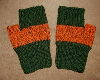 Hand knit Fingerless Gloves - Green & orange