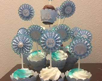 12 elephant blue rosette scallopped cupcake topper and wrapper set