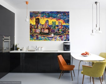 Pittsburgh wall art, Skyline art, Light up Night Pittsburgh, Kitchen art, Modern wall art, Metal prints, Pittsburgh Artist, Johno Prascak