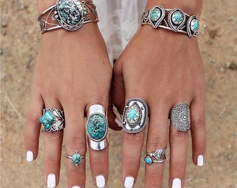 Turquoise Silver Ring, Boho, Sterling Silver Ring, Aztec Ring, Bohemian Gypsy Ring, Gemstone Ring, Solid Silver,  Natural Turquoise, Don Biu
