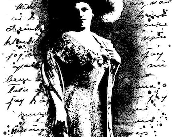 EZ Mounted Rubber Stamp Edwardian 1900s Woman Background Writing Altered Art Craft Scrapbooking Cardmaking Collage Supply.