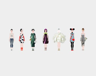 Lola Paper Doll with 7 original outfits, special collections, dress up doll, printable paper  doll, printables, digital instant download