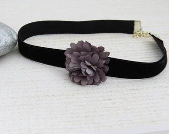 Grey flower and black velvet Choker necklace