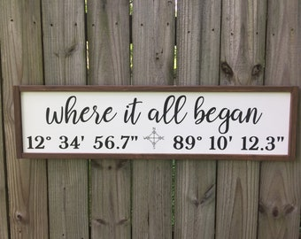 Personalized Latitude Longitude Sign/Where It All Began/Latitude Longitude Sign/Wedding Gift/Wood Coordinates Sign/GPS Coordinates Sign