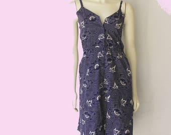 70's Vintage Blue Pin Dot Floral Print Spaghetti Strap Sun Dress