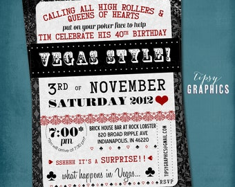 Poker Face. Surprise Poker Party or Shower Invitation by Tipsy Graphics. Lucky in Love