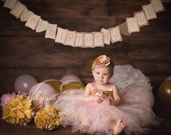 Gorgeous Light Pink Gold Tutu Dress Satin Shabby Chic Flower Tutu Dress for Baby Girl 6-18 Months old First Birthday