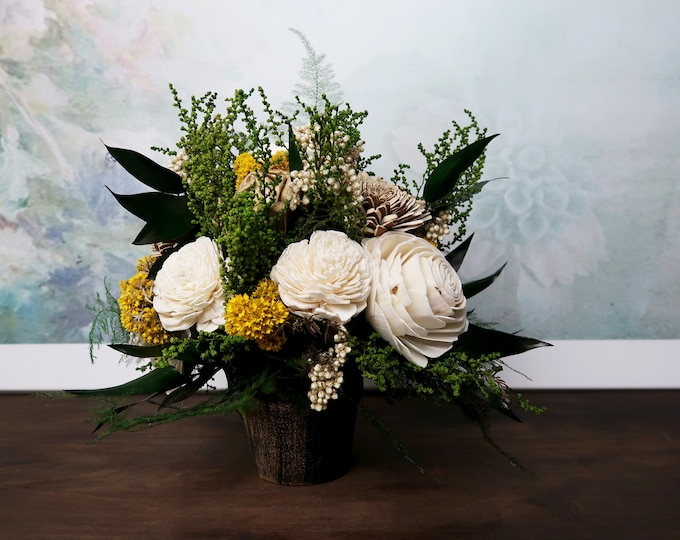 Gold green ivory Wedding floral arrangement table centerpiece sola flower stabilized greenery rice flowers natural southwestern wedding