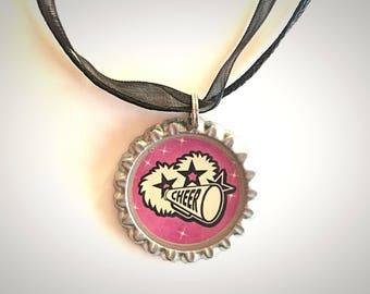 Cheerleader bottlecap necklace